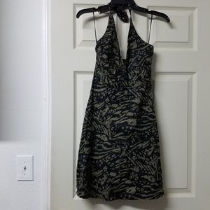 Black and green leopard print dress